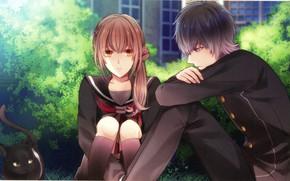 Картинка разговор, на улице, школьники, visual novel, черная кошка, в саду, парень с девушкой, Suuran Digit, …