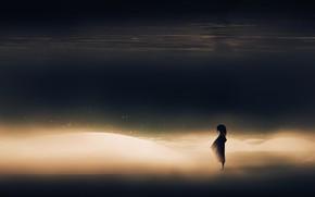 Картинка море, девочка, одна, пески