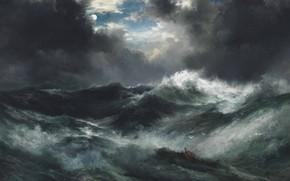 Обои море, волны, свет, ночь, тучи, шторм, луна, картина, кораблекрушение, маринистика, thomas moran, moonlight shipwreck at ...