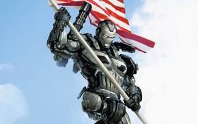 Картинка робот, флаг, арт, Железный человек
