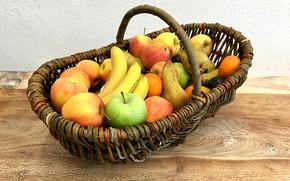 Картинка яблоки, фрукты, корзинка, груши