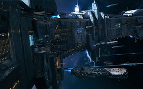 Картинка космос, корабли, звёзды, станция, астероиды