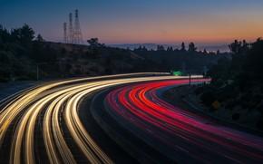 Картинка дорога, ночь, огни