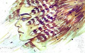 Картинка лицо, рисунок, перья, парень