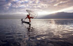 Картинка вода, пейзаж, природа, сеть, лодка, рыбак