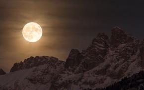 Картинка зима, снег, горы, ночь, природа, скалы, луна, Альпы, Италия, Доломиты, суперлуние