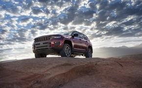 Картинка облака, горы, экстерьер, Jeep, Grand Cherokee, Trailhawk, Jeep Grand Cherokee Trailhawk, 2022