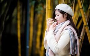 Картинка девушка, азиатка, берет, шпрфик