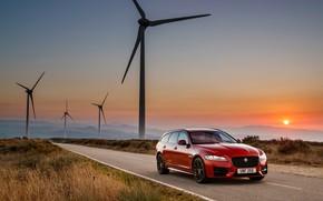 Картинка закат, Jaguar, универсал, Sportbrake, 2017, Jaguar XF, R-Sport