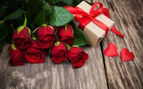 Картинка любовь, цветы, подарок, розы, сердечки, красные, red, love, wood, flowers, romantic, hearts, valentine's day, roses, …