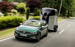 Картинка Volkswagen, прицеп, универсал, Passat, тёмно-зелёный, Alltrack, 2019