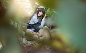 Картинка взгляд, листья, девушка, скамейка, природа, лицо, поза, стиль, фон, настроение, макияж, брюнетка, костюм, образ, азиатка, …