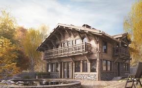 Картинка деревья, дом, стул, архитектура, CHALET HOUSE