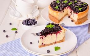 Картинка ягоды, черника, крем, sweet, dessert, творог, Чизкейк