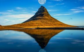 Картинка отражение, луна, гора, Исландия
