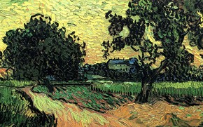 Картинка Vincent van Gogh, at Sunset, the Chateau of Auvers, Landscape with