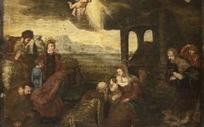 Картинка масло, картина, мифология, Поклонение Волхвов, неизвестный художник, 1599