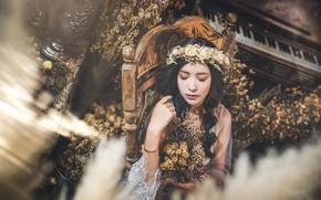 Картинка девушка, цветы, портрет, азиатка, венок, закрытые глаза