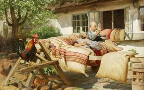 Картинка датский живописец, 1902, Danish painter, Solen skinner i naboens gaard, Ханс Оле Брасен, Солнце светит ...