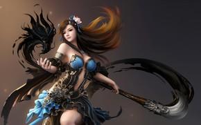 Картинка Girl, Fantasy, Dragon, Beautiful, Art, Flame, Asian, Style, Paint, Characters, Figure, Brush, Cavan & Danny, …