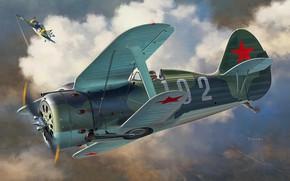 Картинка Биплан, И-153, Поликарпов, ВВС РККА, Brewster F2A Buffalo
