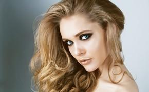 Картинка девушка, лицо, модель, портрет, макияж, локоны