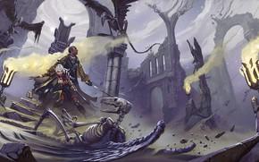Картинка фантастика, тьма, крылья, воин, скелет, храм, битва