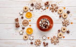 Картинка узор, новый год, рождество, чашка, композиция, пряности, горячий шоколад, пряники