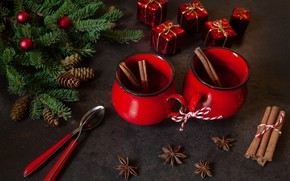 Картинка новый год, горячий, шоколад, корица, декор, пряности