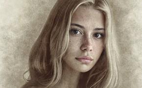 Картинка девушка, фотошоп, картинка, карандашный рисунок