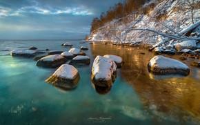Картинка небо, деревья, озеро, камни, скалы, Krasowski Marcin