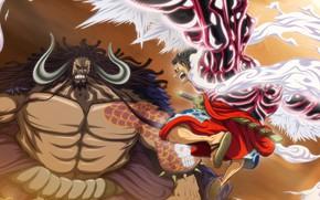 Картинка One Piece, anime, fight, captain, asian, manga, oriental, asiatic, sugoi, Luffy, taichou, japonese, Kaidou, hakki, …