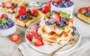 Картинка десерт, вафли, сахарная пудра