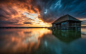 Картинка закат, озеро, дом