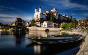 Картинка река, замок, здания, дома, лодки, Швейцария, церковь, мосты, набережная, Switzerland, Aare River, Aarburg, Река Аре, …