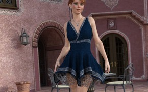 Картинка девушка, комната, платье