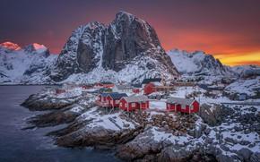 Картинка Норвегия, домик, поселок, Лофотенские острова