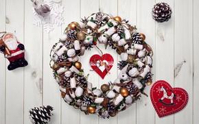 Картинка украшения, фон, сердце, Новый год, new year, happy, Christmas, венок, шишки, Санта - Клаус