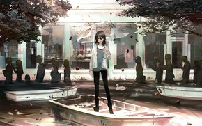 Картинка девушка, лодка, зонт, арт