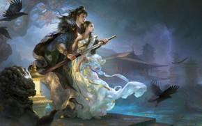 Картинка ночь, оружие, молния, меч, фэнтези, арт, двое, 庆余年, Huang Guangjian