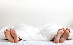 Картинка white, couple, fingers, sheets, feet, marriage