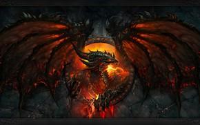 Картинка пламя, чешуя, пасть, когти, клыки, злой, ужас, world of warcraft, cataclysm, огнедышащий дракон, крылья летучей ...
