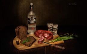 Картинка хлеб, нож, водка, колбаса