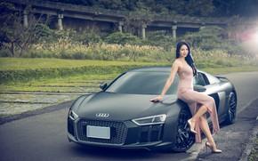 Картинка авто, взгляд, Девушки, Audi R8, красивая девушка, Jasmine, позирует над машиной, азиака