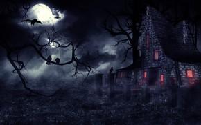 Картинка ночь, туман, готика, мистика, вороны, полнолуние, haunted house, фентези арт, мрачный замок