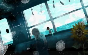 Картинка вода, поезд, подсолнух, медузы, школьница
