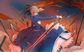 Картинка девушка, меч, платье, Артурия Пендрагон, Судьба ночь схватки, эскалибур, Fate / Stay Night