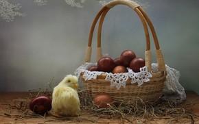 Картинка салфетка, крашенки, праздник, Ковалёва Светлана, Пасха, яйца, Светлана Ковалёва, цыплёнок, корзина