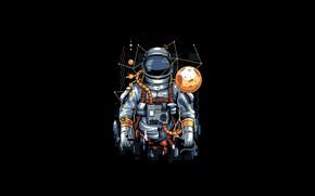Картинка Moon, Art, Vector, Background, Illustration, Minimalism, Astronaut, Spaceman, Cosmonaut, Angga Tantama