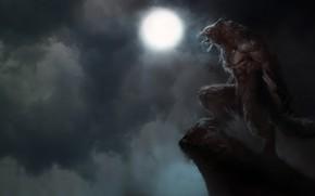 Картинка Ночь, Луна, Тучи, Dark, Пасть, Клыки, Морда, Зверь, Оборотень, Ужас, Supernatural, Wild, Evil, Horror, Зло, …